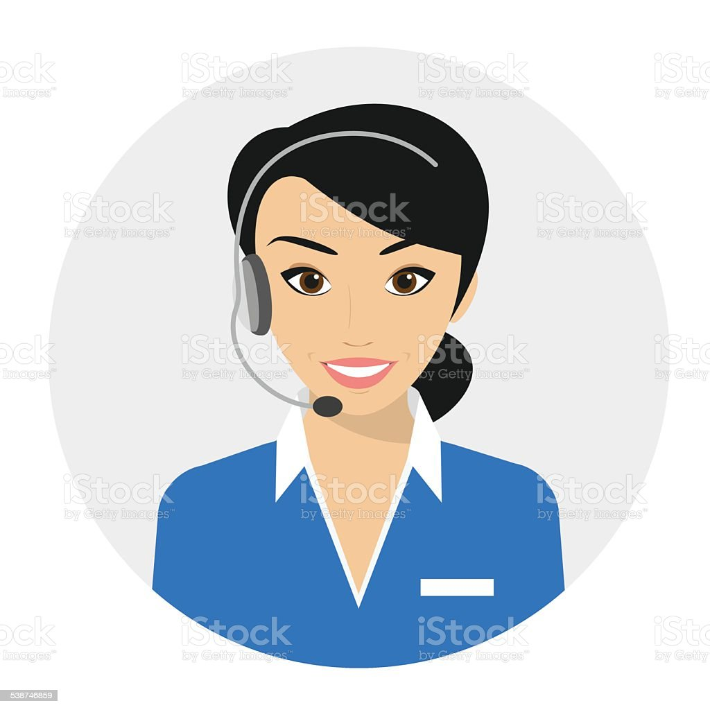 Female call centre operator vector art illustration