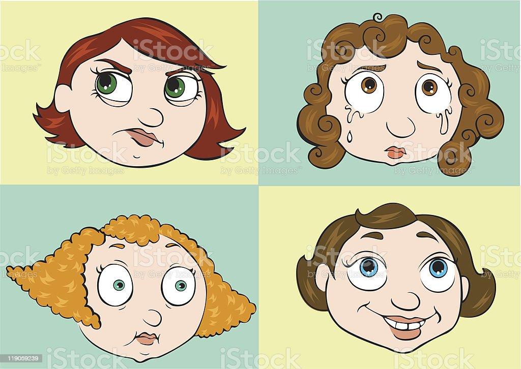 Female Characters vector art illustration