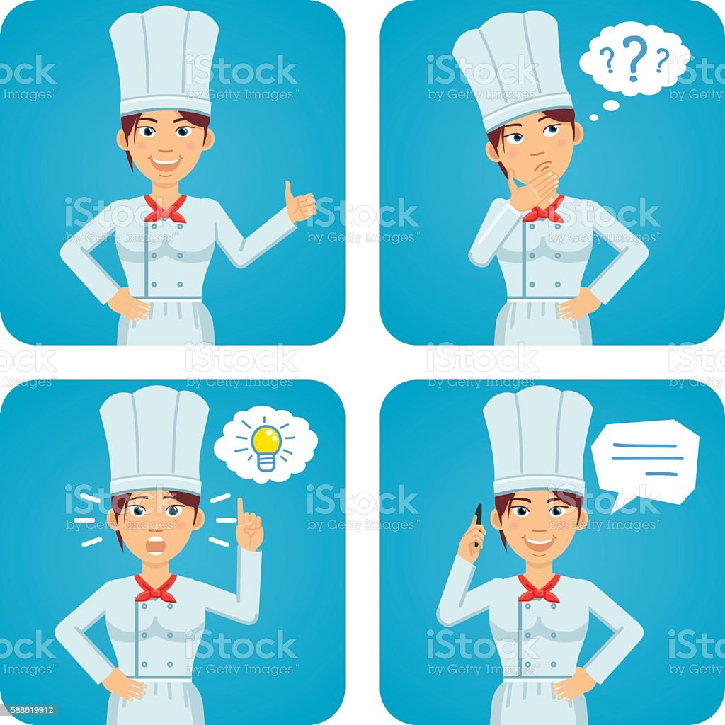 Female chef cook in different situations vector art illustration