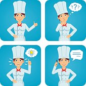 Female chef cook in different situations