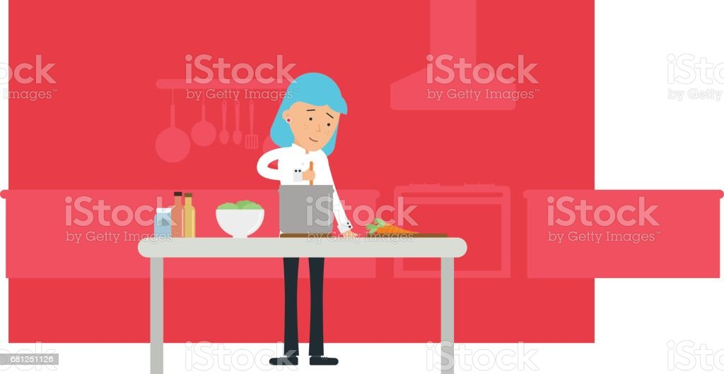 Female Chef Cooking In The Kitchen vector art illustration
