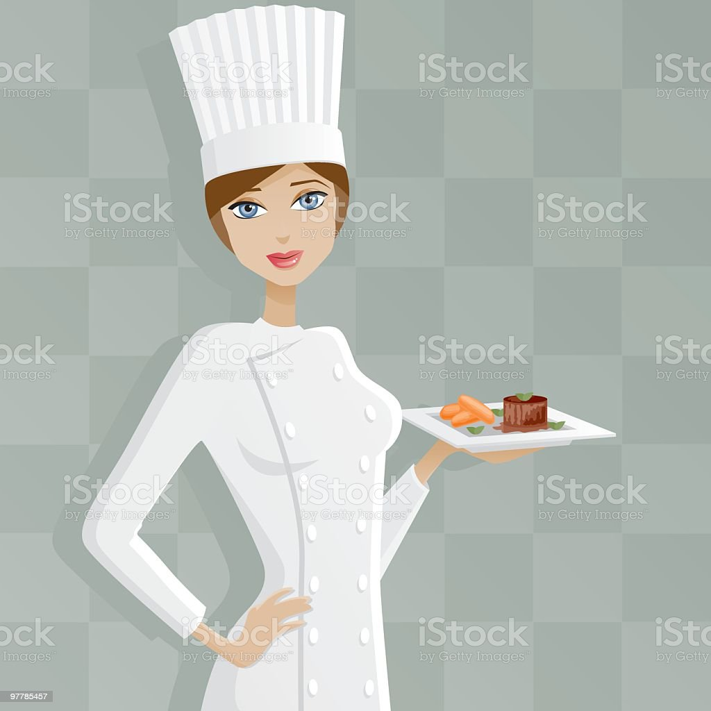 Female Chef With Filet Mignon vector art illustration