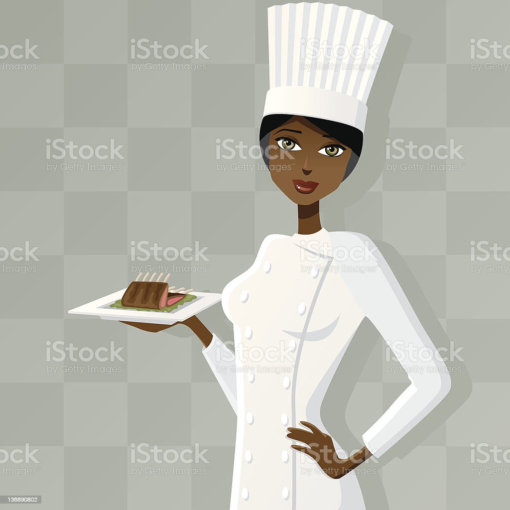 Female Chef with Rack of Lamb royalty-free stock vector art