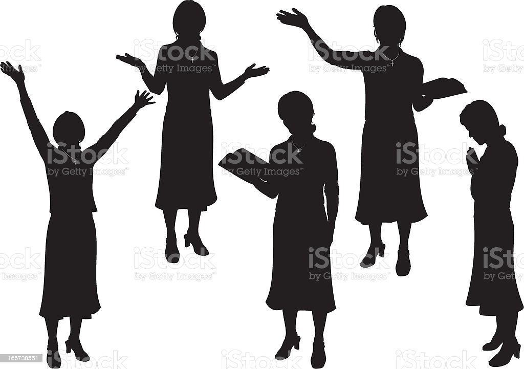 Female Church Minister royalty-free stock vector art