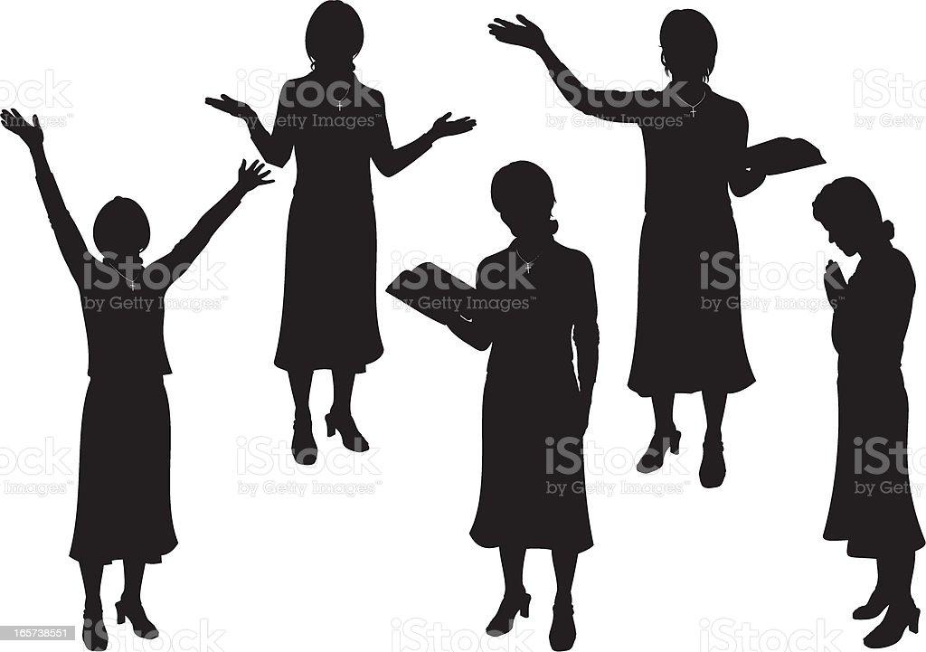 Female Church Minister vector art illustration