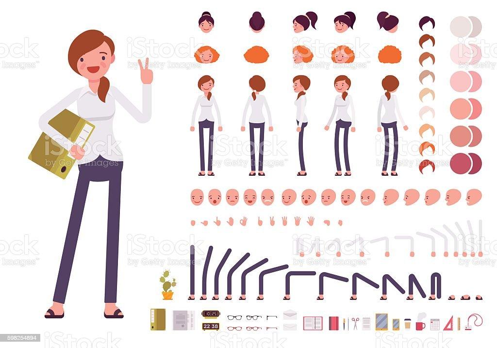 Female clerk character creation set vector art illustration