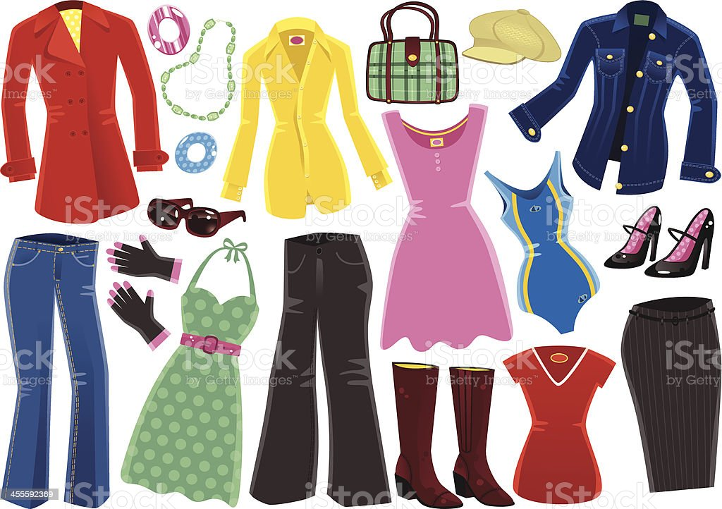 Female clothing items vector art illustration