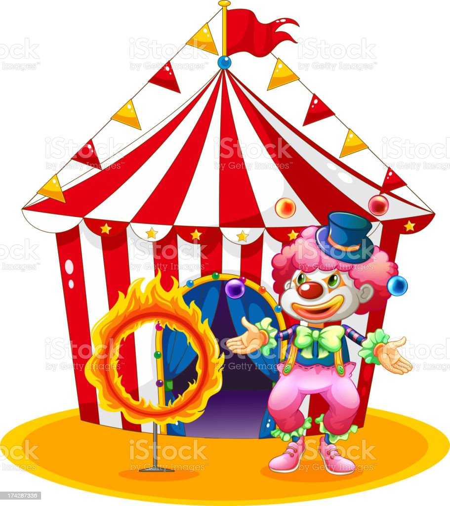 Female clown juggling in front of the tent royalty-free stock vector art