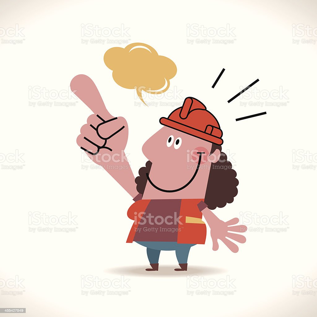 Female Construction Worker Showing Something royalty-free stock vector art