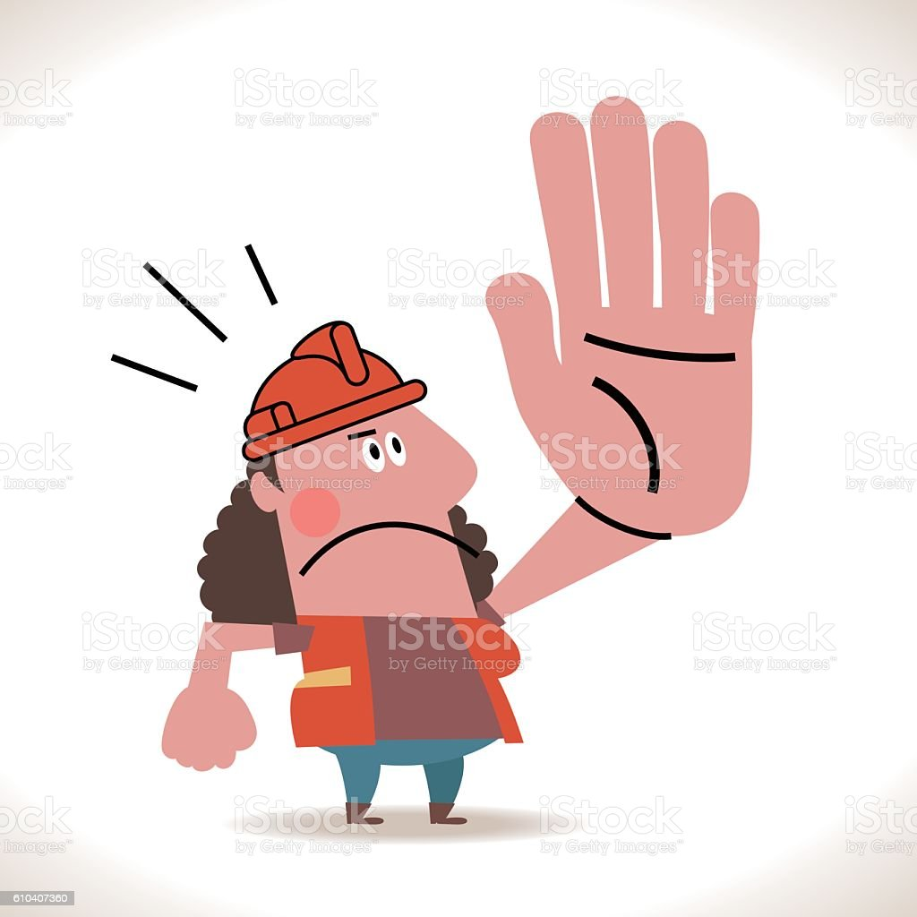Female Construction Worker Showing Stop Hand Sign vector art illustration