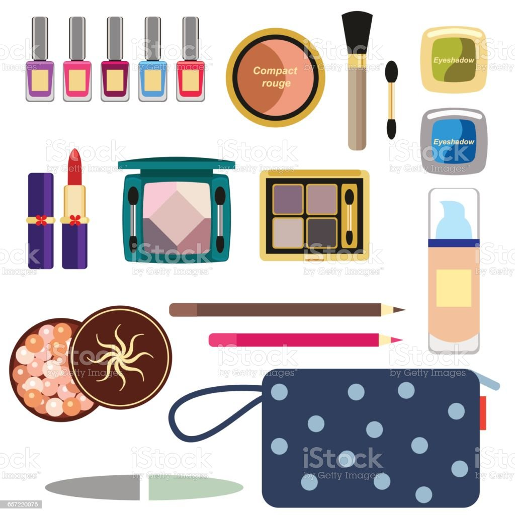Female cosmetics large set in a flat style isolated on a white background. Nail polish, lipstick, powder, hair spray and cosmetic bag. vector art illustration