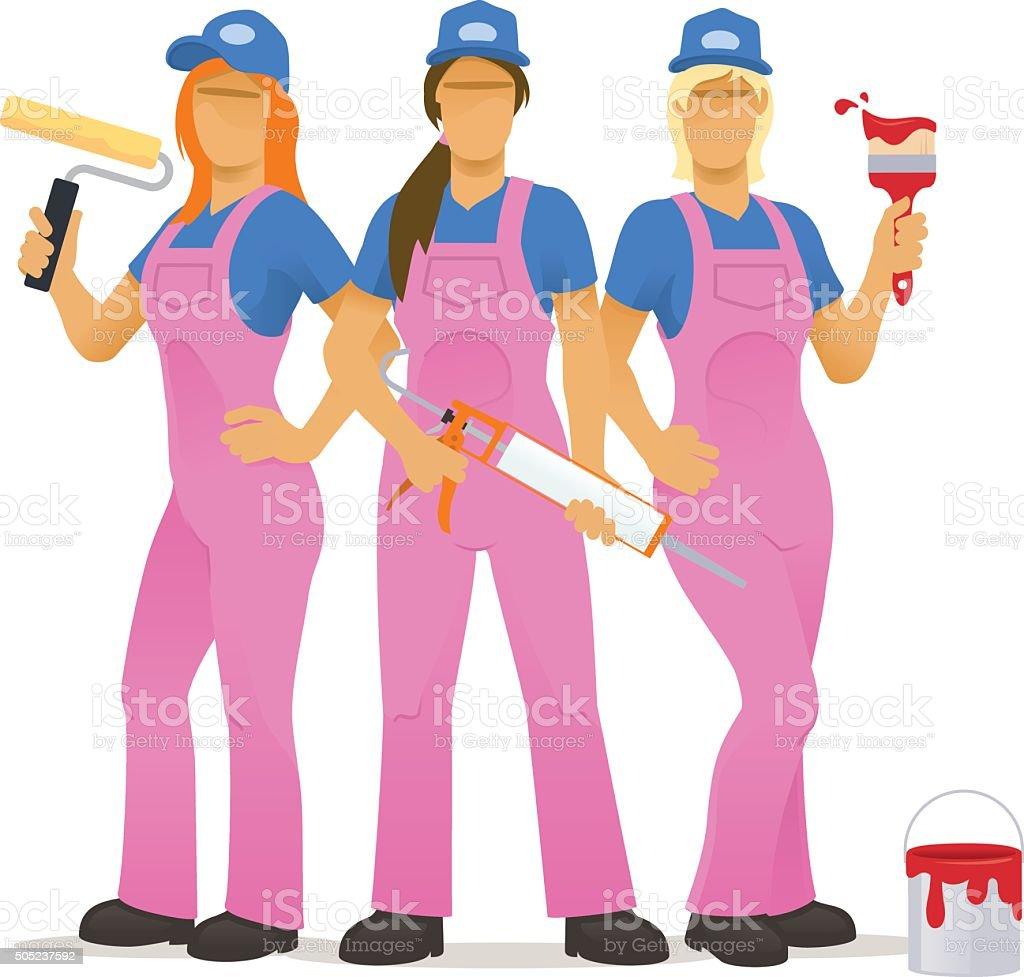 Female decorating team vector art illustration