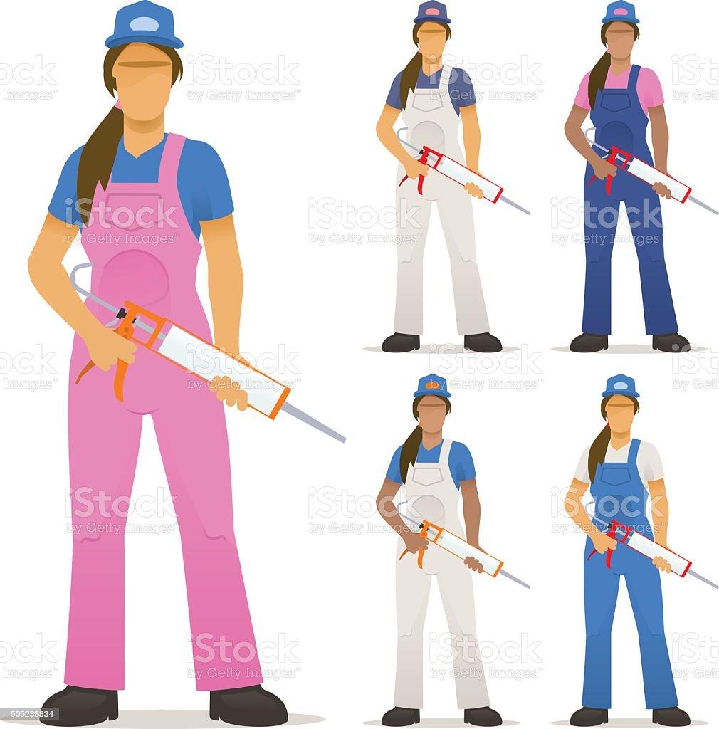 Female decorator with sealant gun vector art illustration