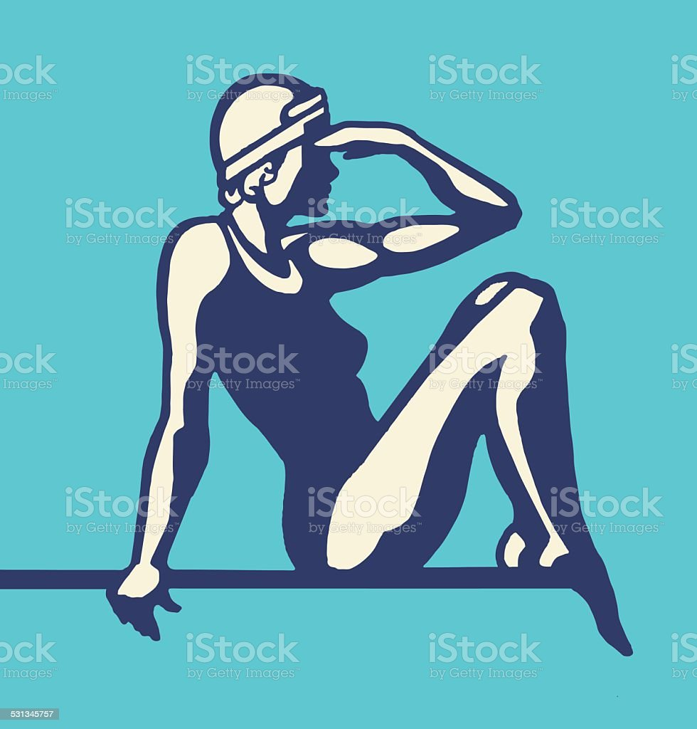 Female Diver Sitting vector art illustration