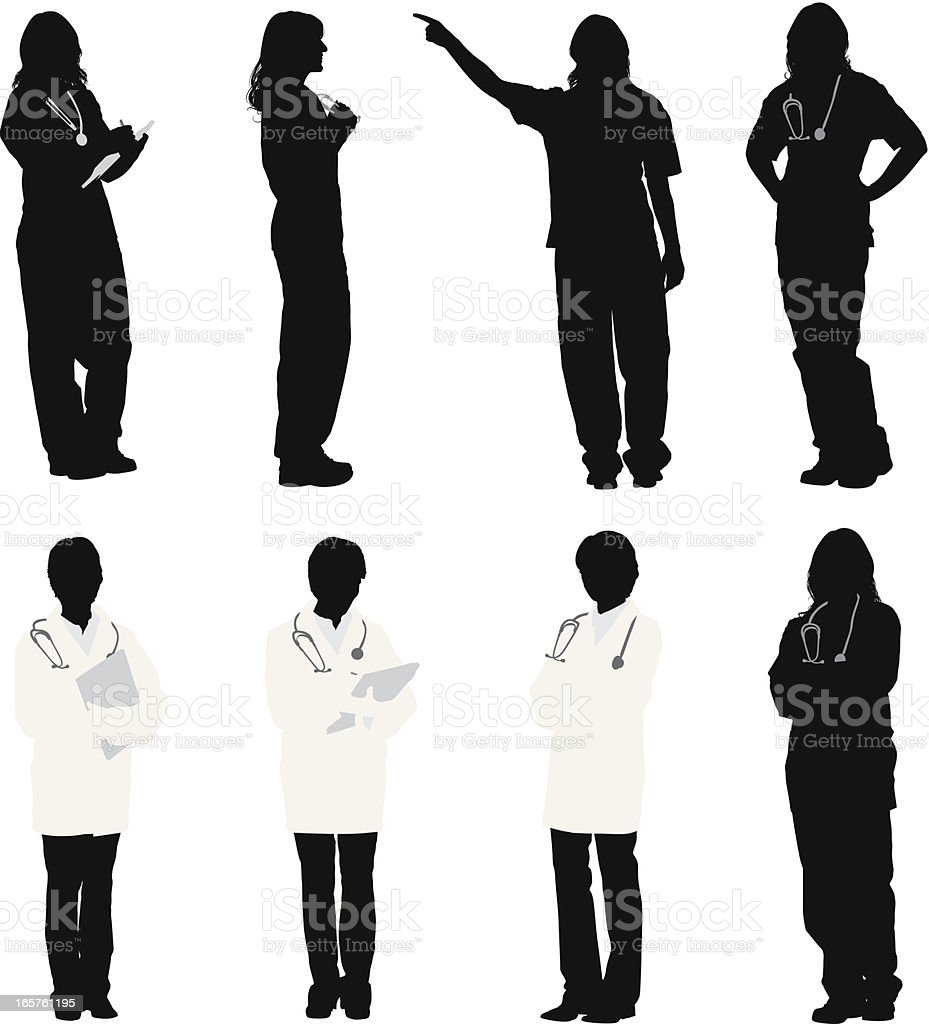 Female doctor and nurses vector art illustration