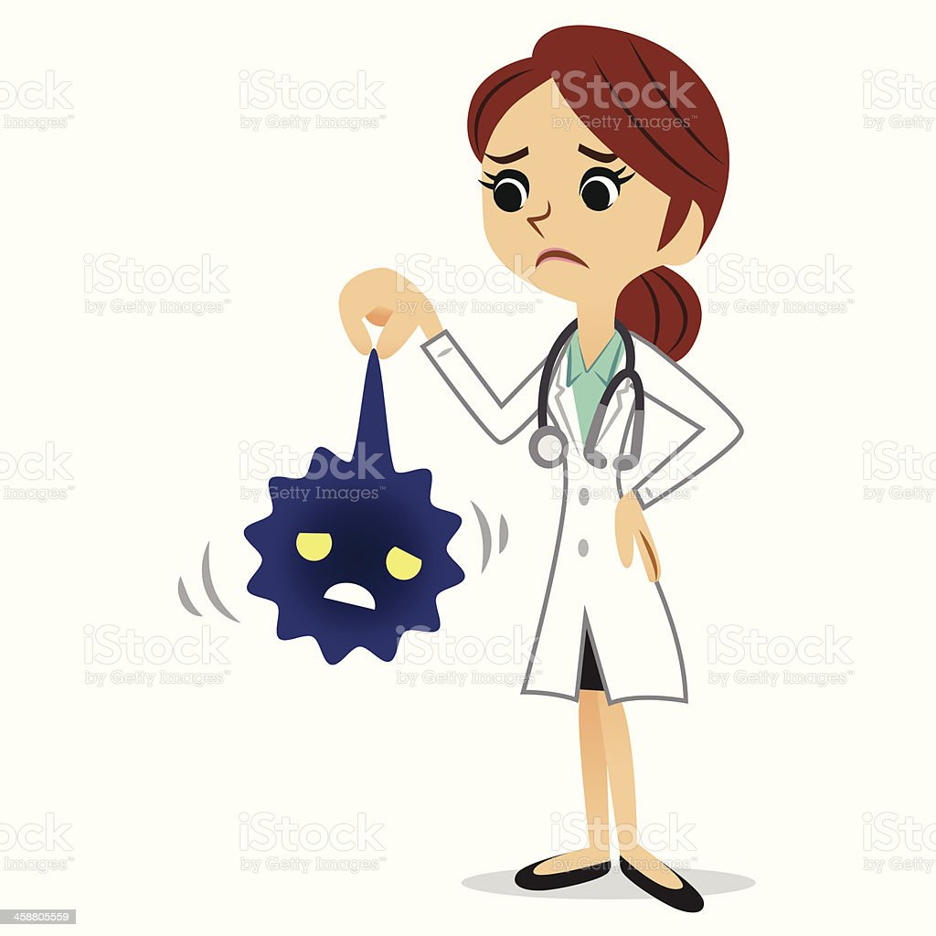 Female doctor caught a virus royalty-free stock vector art