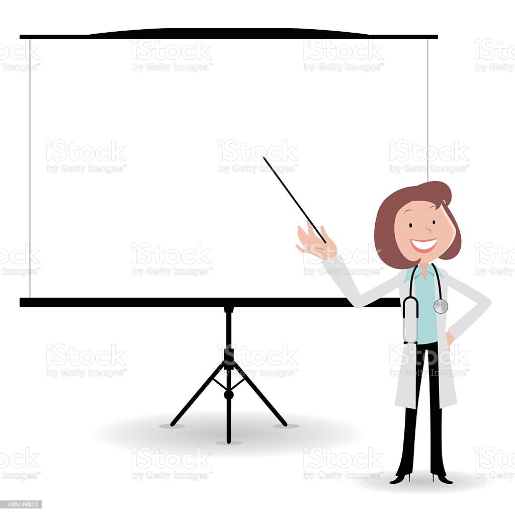female doctor giving a presentation in a conference/meeting setting vector art illustration