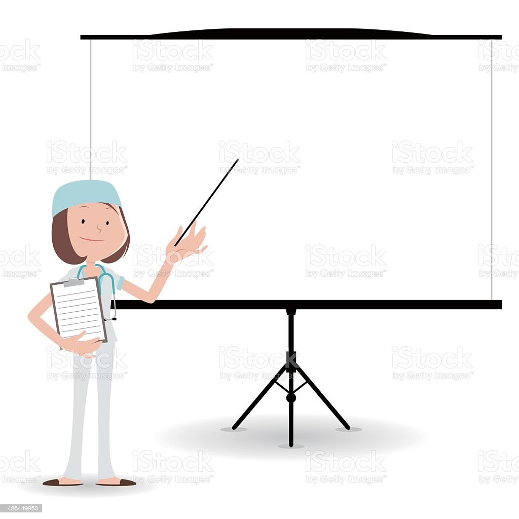 female doctor (Surgeon) giving presentation in a conference/meeting setting vector art illustration