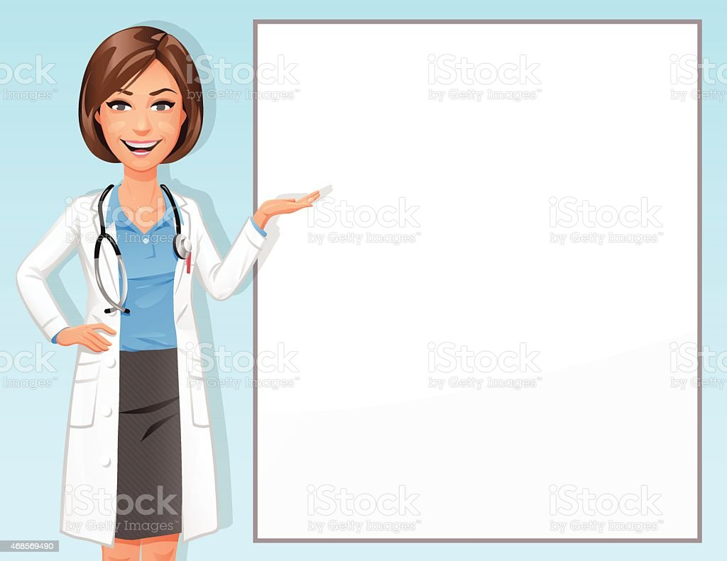 Female Doctor In Front Of Blank Sign vector art illustration