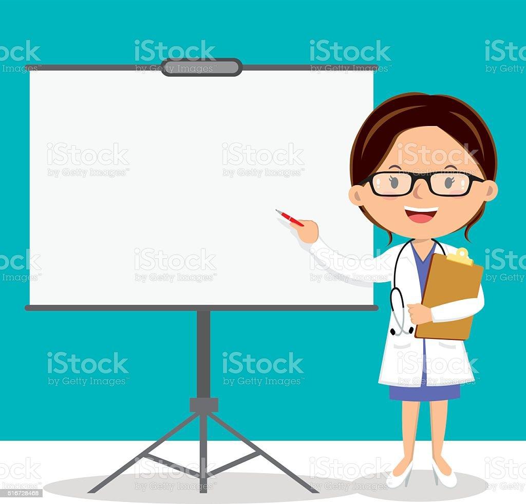 Female doctor on presentation vector art illustration