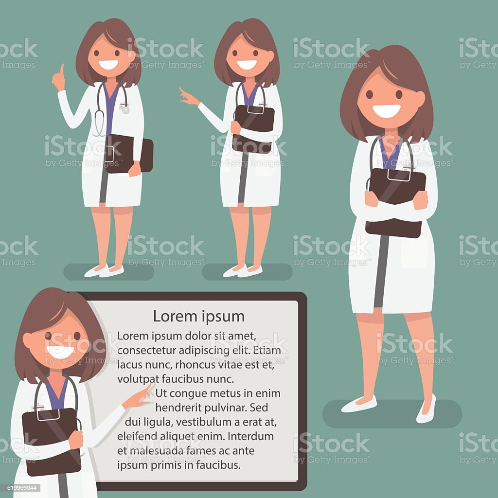 Female doctor presented in different actions. The character  for posters vector art illustration