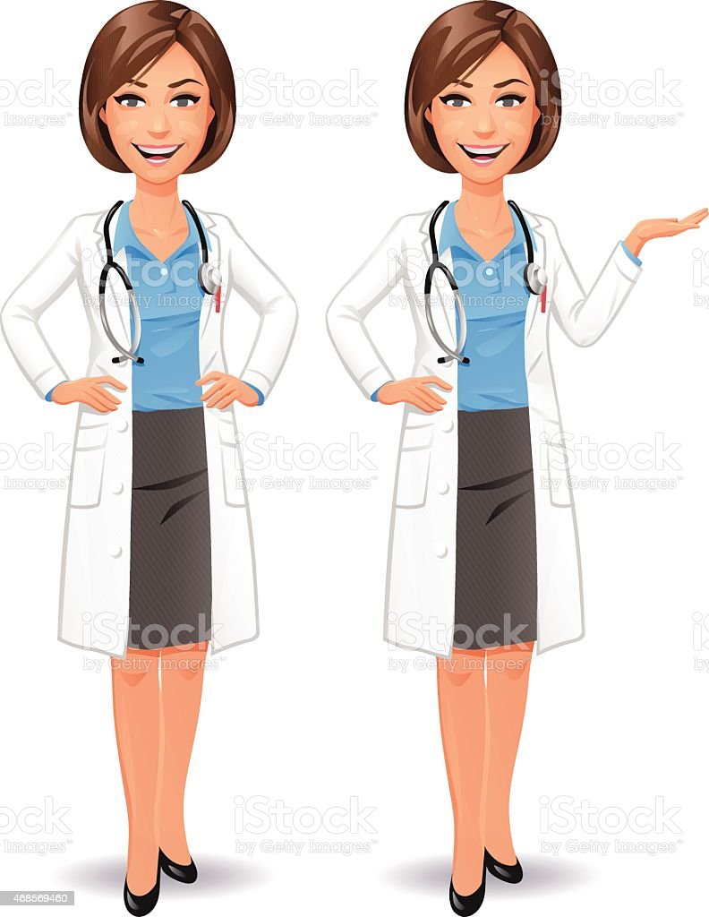Female Doctor Standing With Hands On Hips vector art illustration