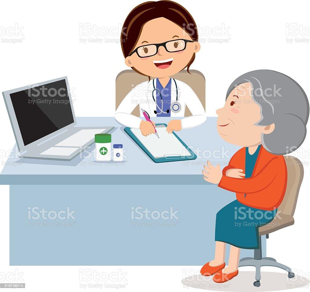 Female doctor with senior woman vector art illustration