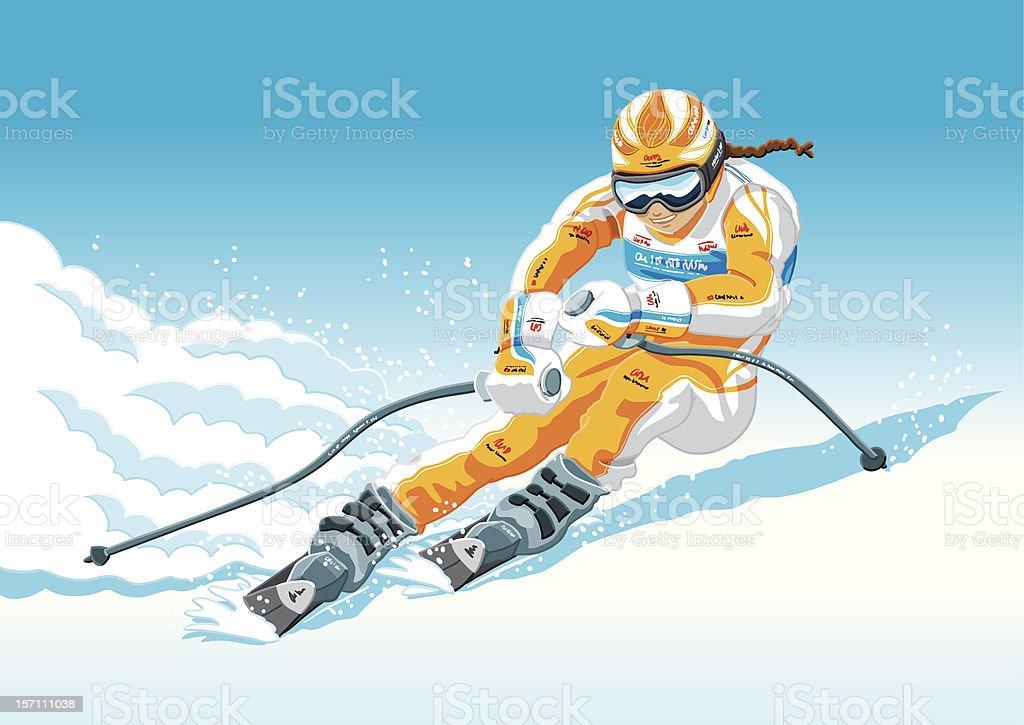 Female Downhill Skier vector art illustration