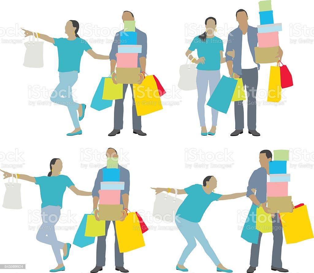 Female dragging male to do more shopping vector art illustration
