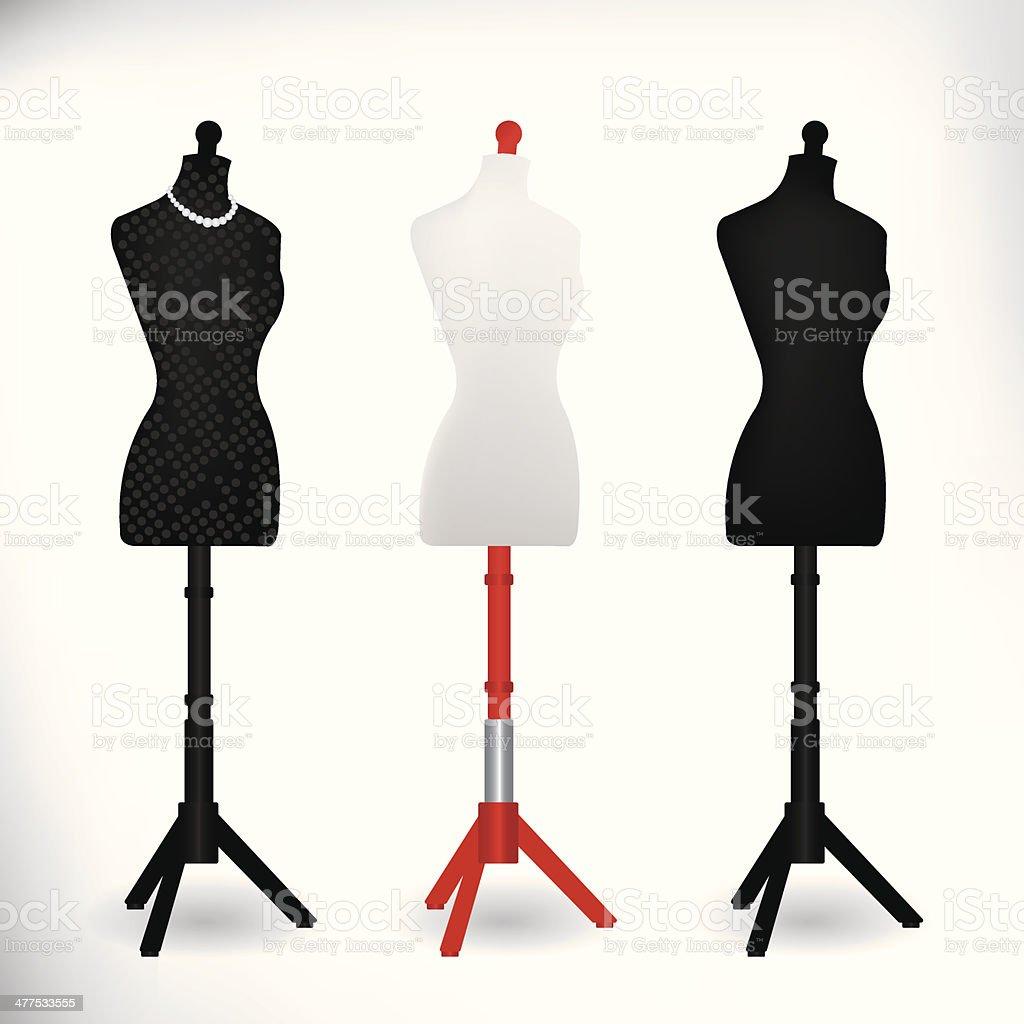 Female Dressmakers Mannequin black and white vector art illustration