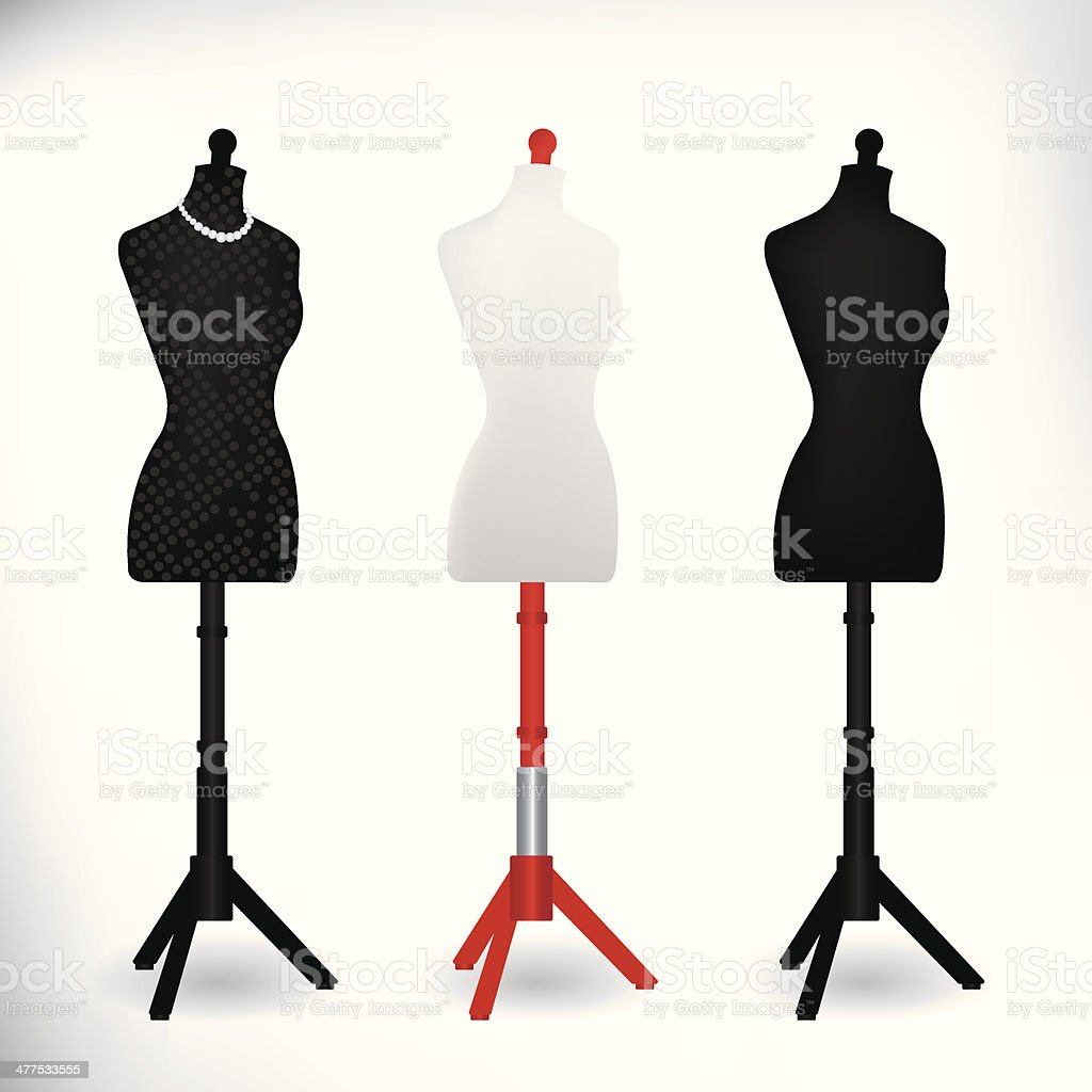 Female Dressmakers Mannequin black and white vector art illustration