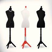 Female Dressmakers Mannequin black and white