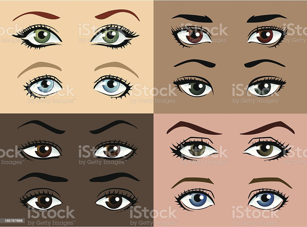 Female eyes of different colours and skin tones. royalty-free stock vector art