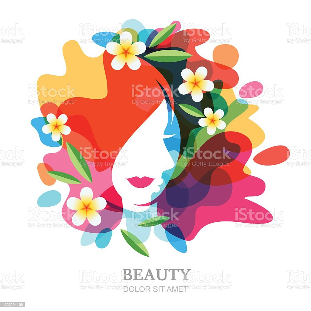 Female face and plumeria flowers on multicolor splash background vector art illustration