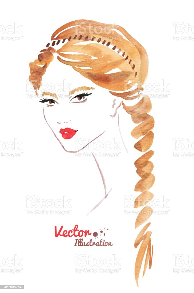 Female face. Braid hairstyle. vector art illustration