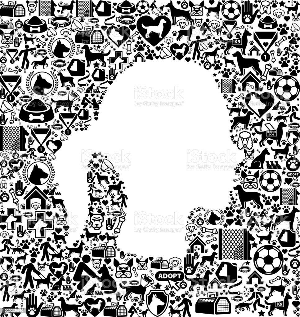 Female Face Dog and Canine Pet Black Icon Pattern vector art illustration