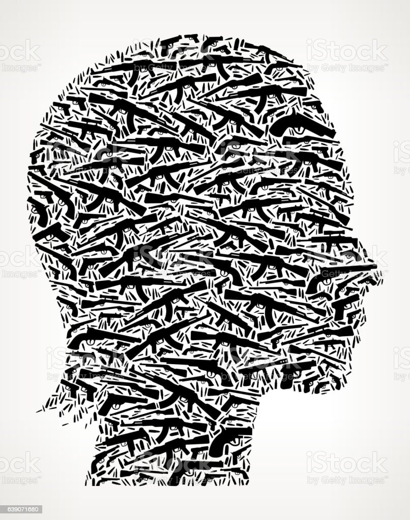 Female Face Gun Black Icon Pattern Background vector art illustration
