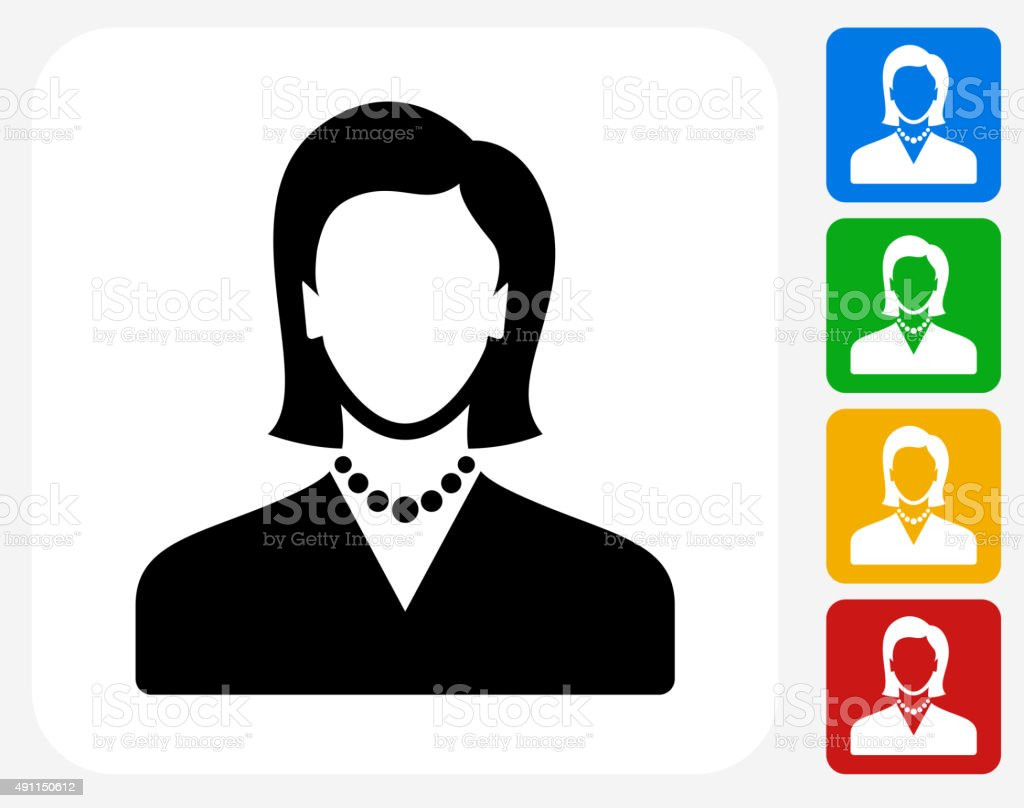 Female Face Icon Flat Graphic Design vector art illustration