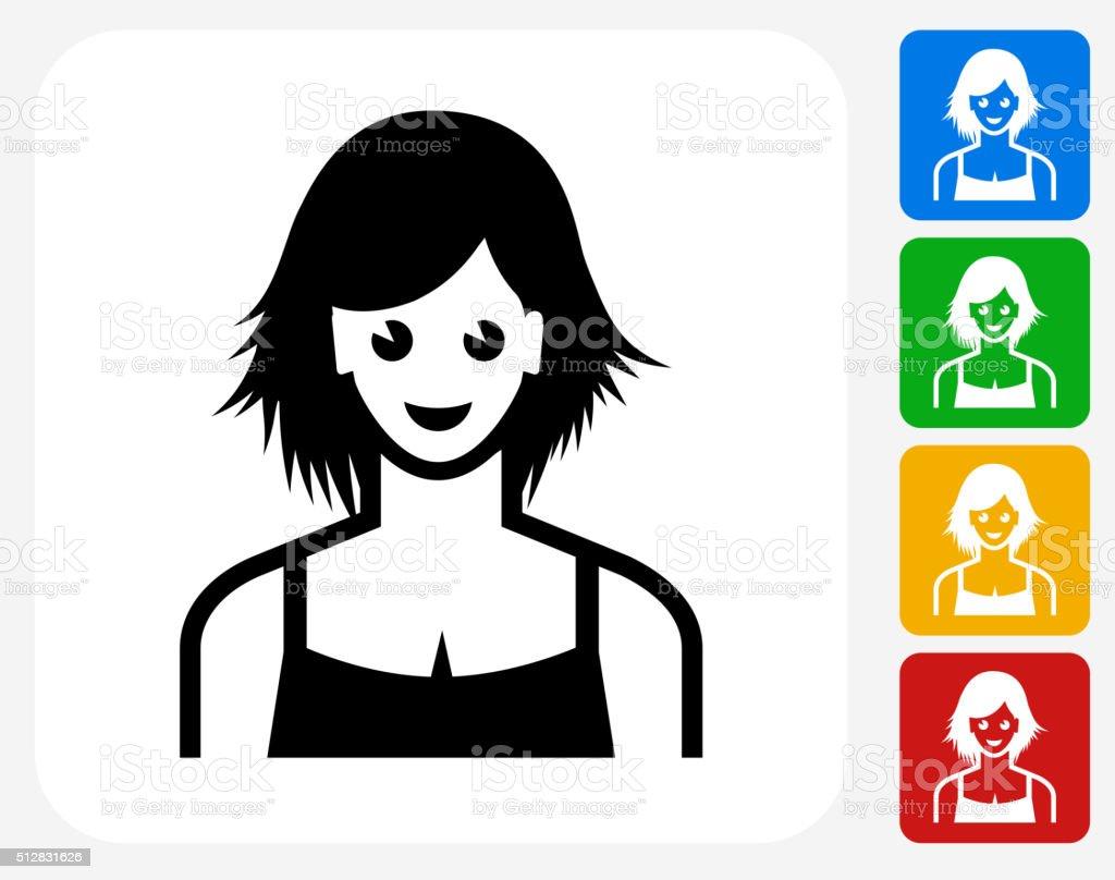 Female Face Icon Flat Graphic Design vector art illustration