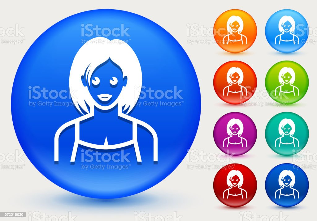 Female Face Icon on Shiny Color Circle Buttons vector art illustration