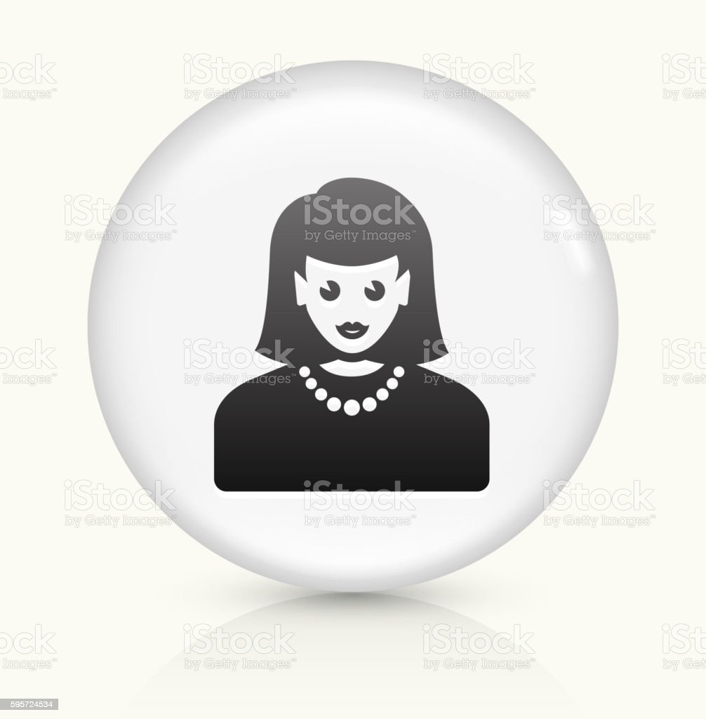 Female Face icon on white round vector button vector art illustration