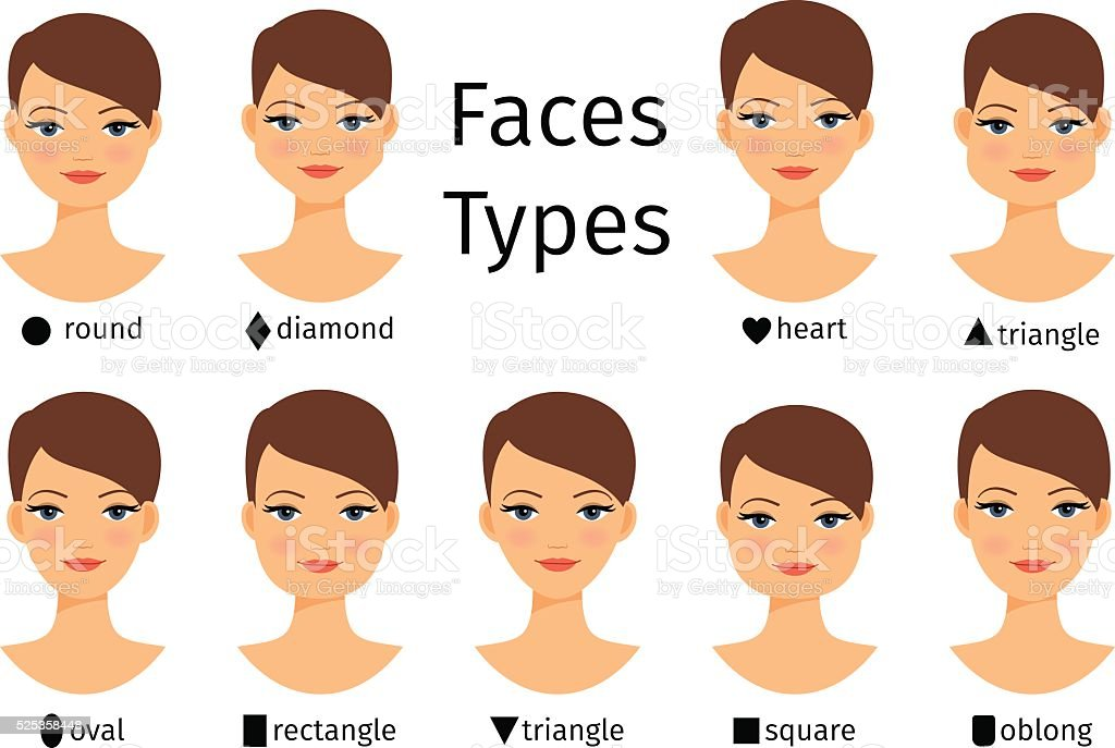 Female face shapes vector art illustration