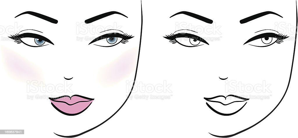 Female Face vector art illustration
