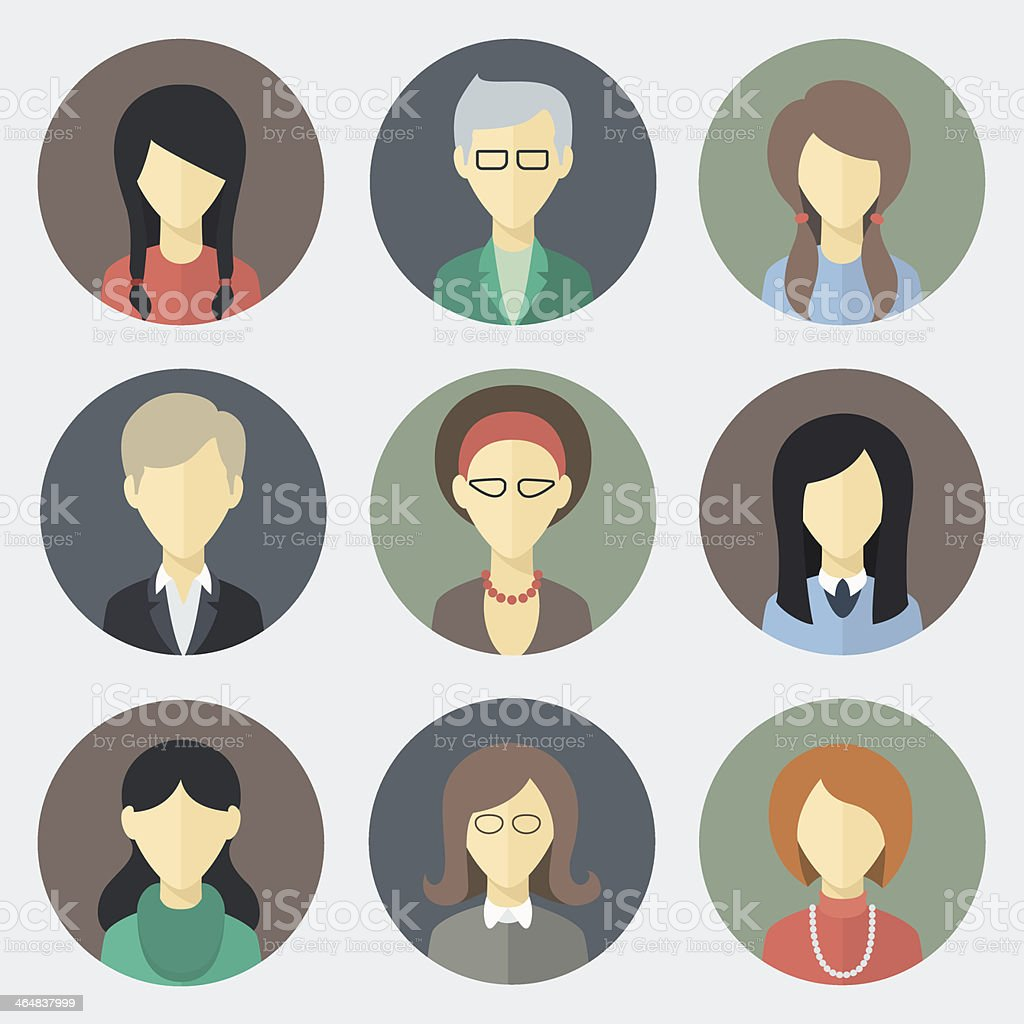 Female Faces Icons Set vector art illustration