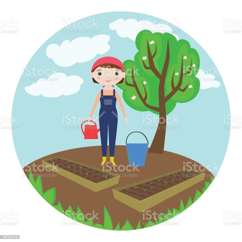 Female farmer watering garden-beds with seeds vector art illustration