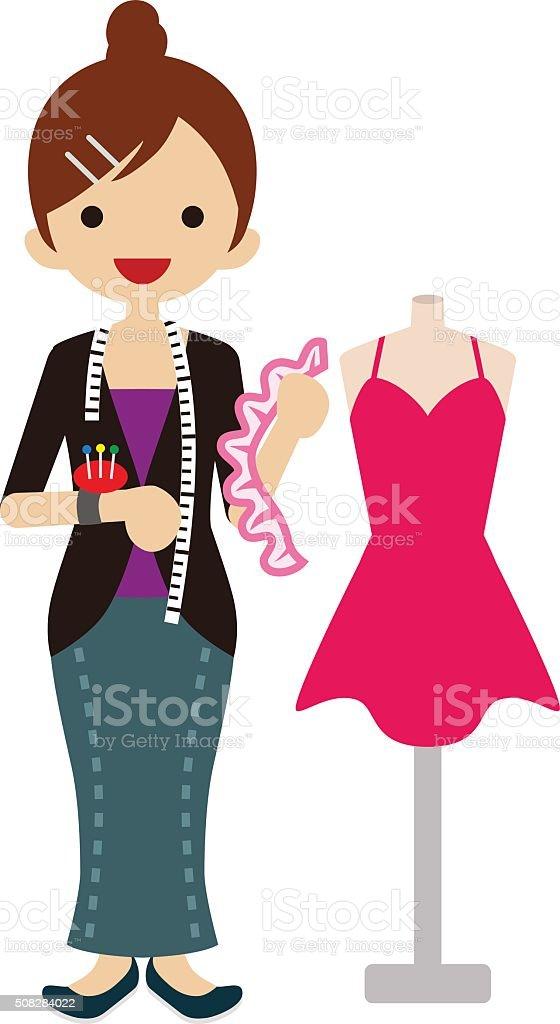 Female Fashion Designer vector art illustration