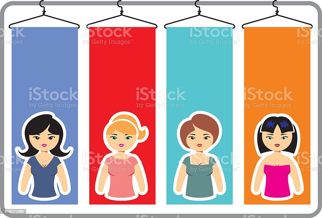 female fashion Infographic dress and combinations vector art illustration