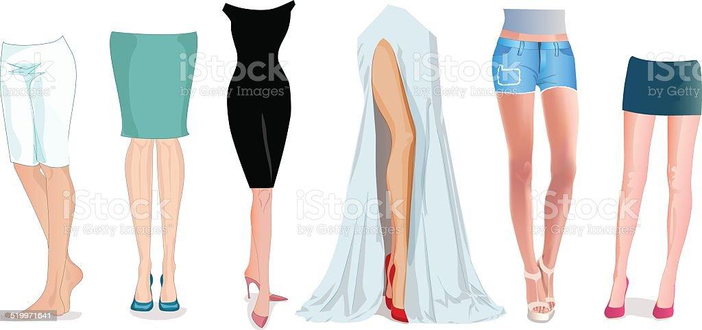 Female feet set vector art illustration