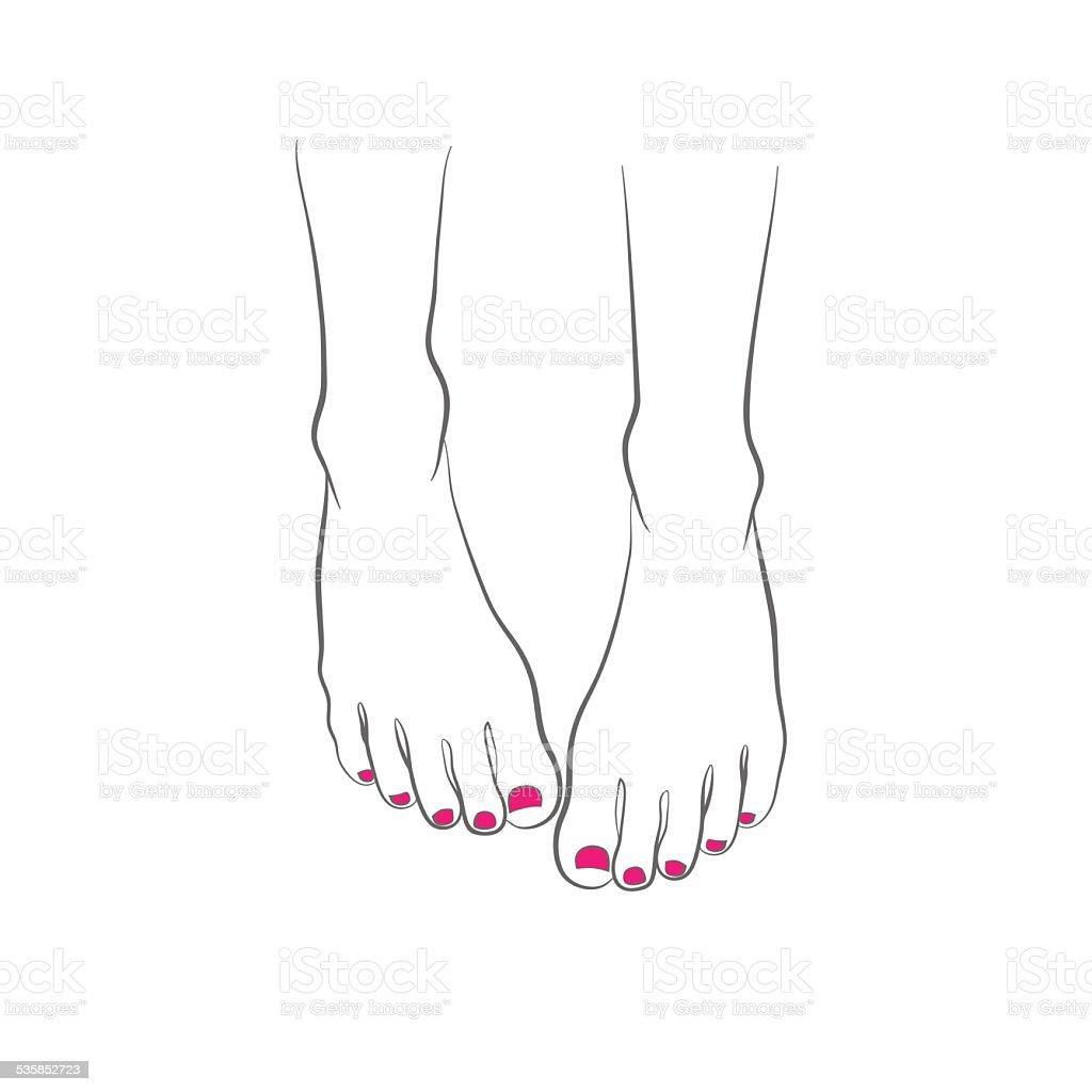 Fêmea pés com pedicure vermelho, chiropody, vetor vetor e ilustração royalty-free royalty-free