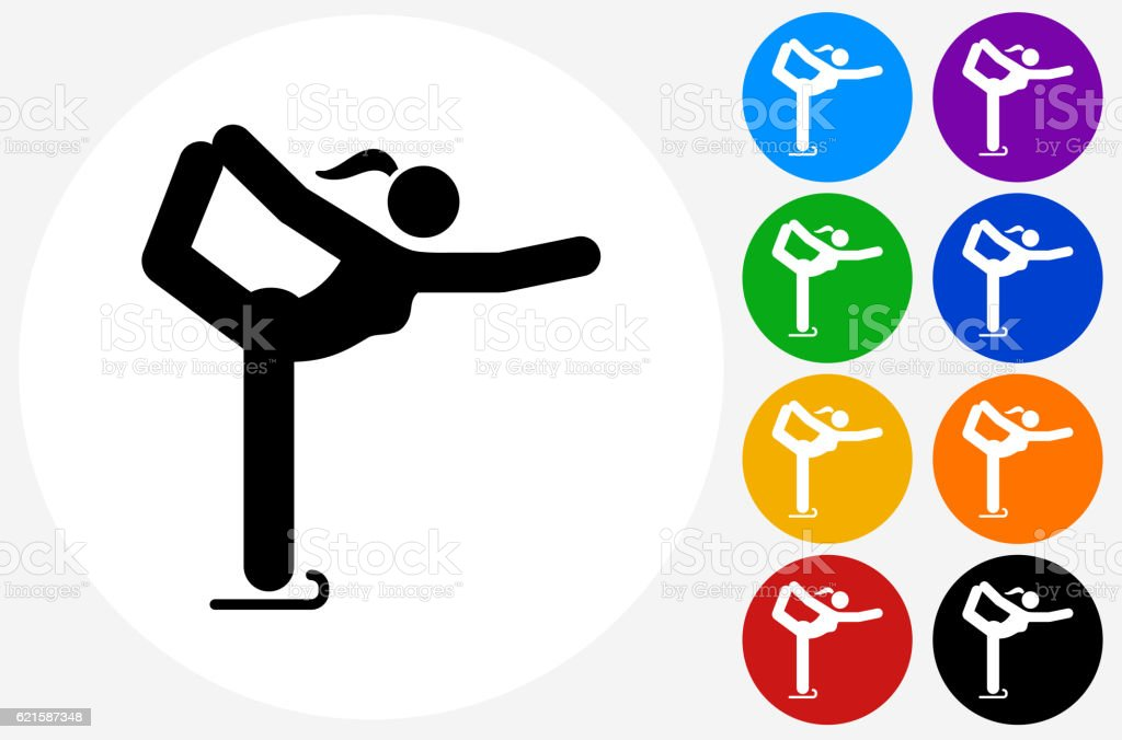 Female Figure Skater Icon on Flat Color Circle Buttons vector art illustration